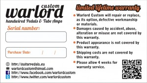 Image of lifetime warranty card of custom guitar pedals